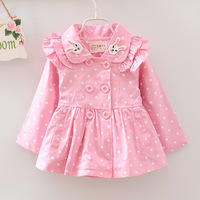 Autumn New Design Kids Outerwear Baby Coat Girls Cute Rabbit Doll Collar Dot Printing Hoodies Girls