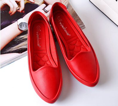 ФОТО Plus size 34-41 woman spring loafer flats shoes black red grey comfortable casual soft leather female flats round toes DS130