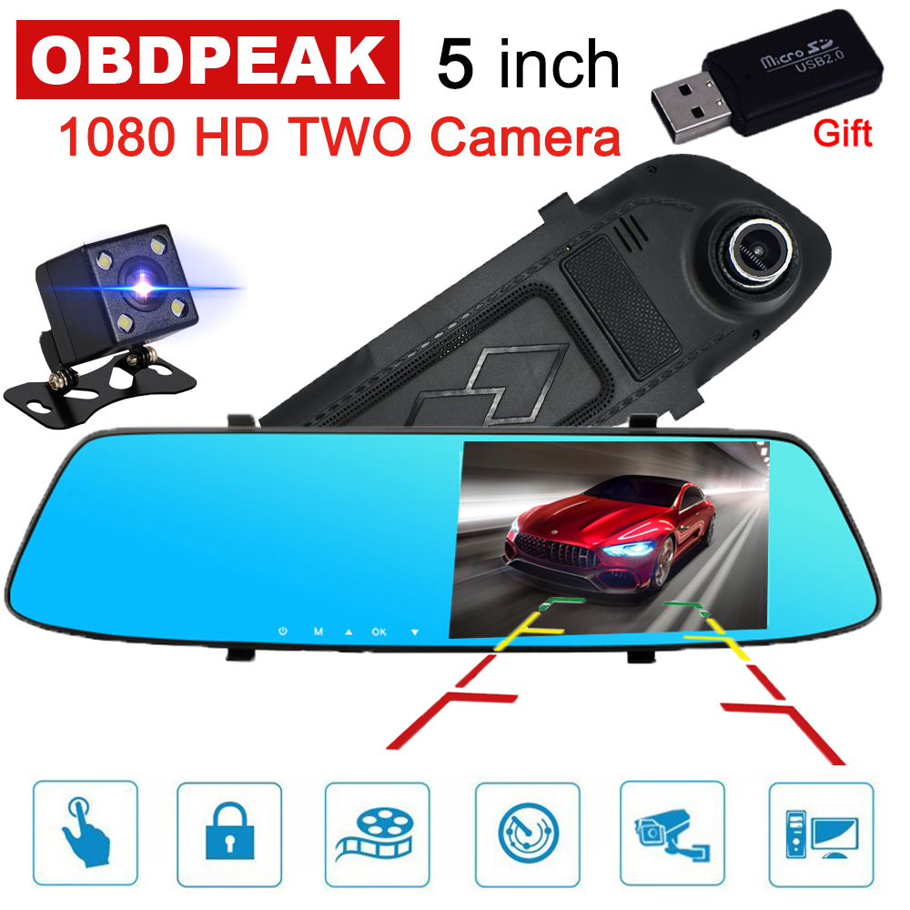 <font><b>Car</b></font> <font><b>DVR</b></font> <font><b>Camera</b></font> <font><b>5</b></font> <font><b>inch</b></font> IPS Screen Dual Lens <font><b>Rearview</b></font> <font><b>Mirror</b></font> Video Recorder FHD 1080P Automobile <font><b>DVR</b></font> <font><b>Mirror</b></font> Dash cam Registrator image