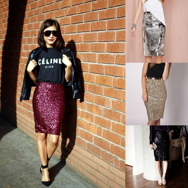 391e8dc55f1b High Fashion Shiny Twinkling Sequin Skirt Knee Length Short Summer Style  Skirt Personalized Skirts Women Custom Made Color Free
