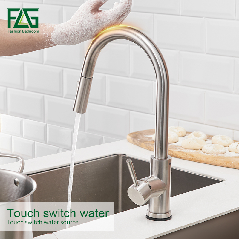 FLG Stainless Steel Touch Control Kitchen Faucets Smart Sensor Kitchen Mixer Touch Faucet for Kitchen Pull