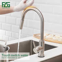 FLG Stainless Steel Touch Control Kitchen Faucets Smart Sensor Kitchen Mixer Touch Faucet for Kitchen Pull Down Sink Tap