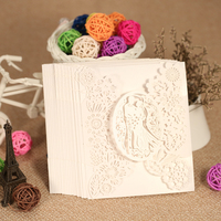 20pcs Romantic Laser Cut Wedding Invitation Card Groom Bride Carved Pattern Wedding Card Hollow Out Wedding