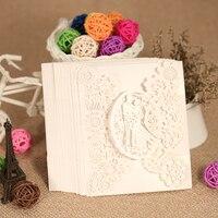 20pcs Romantic Laser Cut Wedding Invitation Card Groom Bride Carved Pattern Wedding Card Hollow Out Wedding