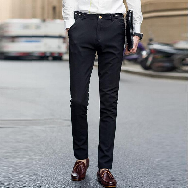 Buy 2017 Casual Formal Wedding Men Suit Pants Fashion Slim Fit Brand Black