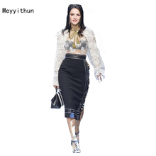 New Arrival Sexy White Lace Blouse+Black Linen Skirt Skirt Set (1 set) 170413Z02