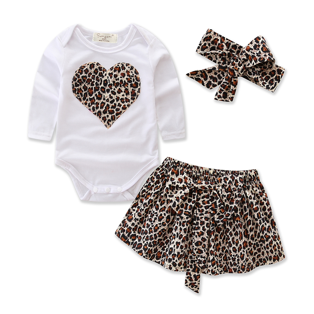 Newborn Infant Baby Girls Clothes Cotton Long Sleeve Romper+Leopard Print Skirt+Headband 3pcs Children Toddler Girls Clothing baby girl 1st birthday outfits short sleeve infant clothing sets lace romper dress headband shoe toddler tutu set baby s clothes