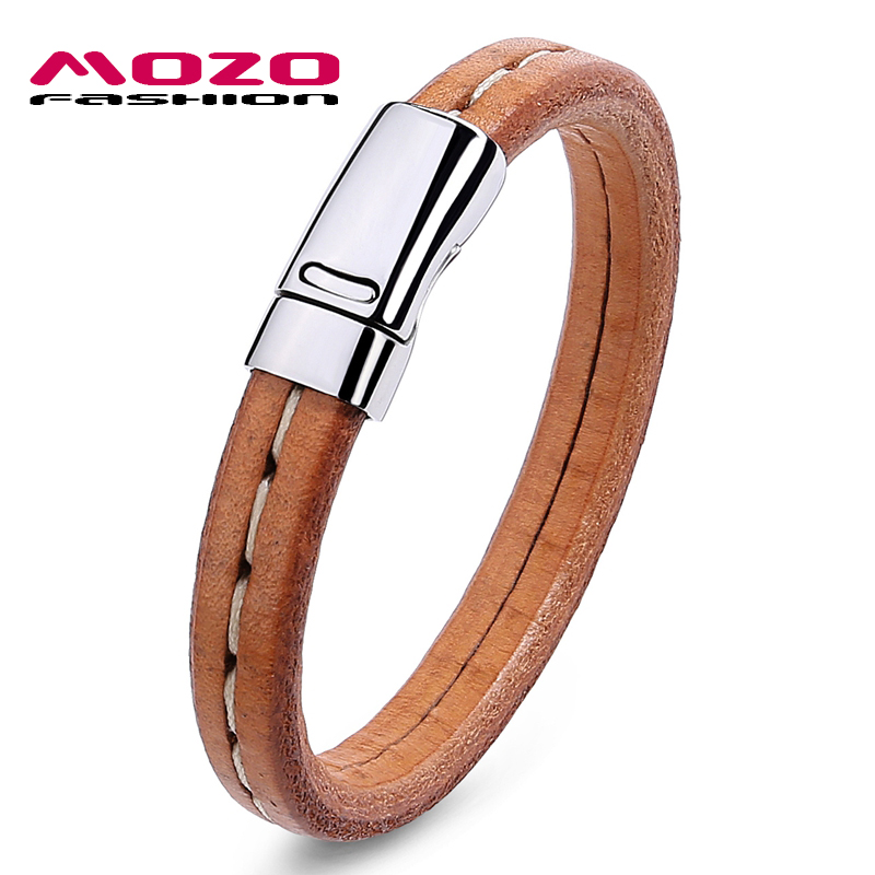 MOZO FASHION Male Bracelet Black/Brown Leather Rope Bracelet Stainless Steel Magnetic Buckle Bracelet Men Vintage Jewelry PS2004