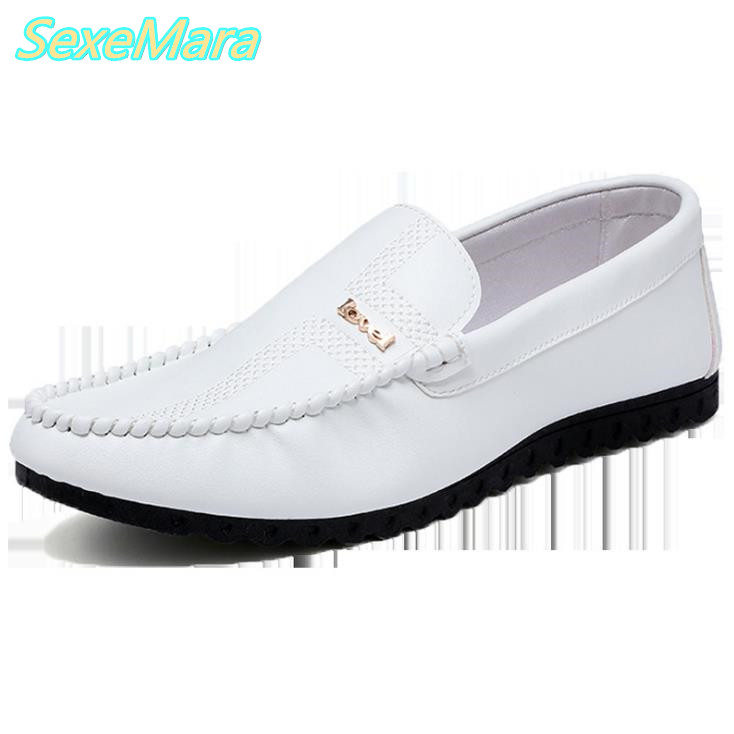 White Men Leather Shoes Black Casual Shoes Men 2017 New Spring Male Loafers Shoes Slip On PU Leather Men's Flats Zapatos Hombre  synthetic leather men shoes spring male casual shoes new 2017 fashion leather shoes loafers men s shoes flats zapatillas