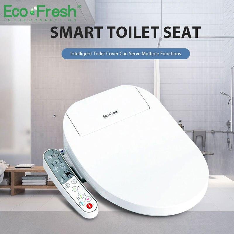 EcoFresh chauffée siège de toilette intelligente couvercle de toilette Washlet led éclairage siège de toilette Électrique Bidet intelligent siège de toilette