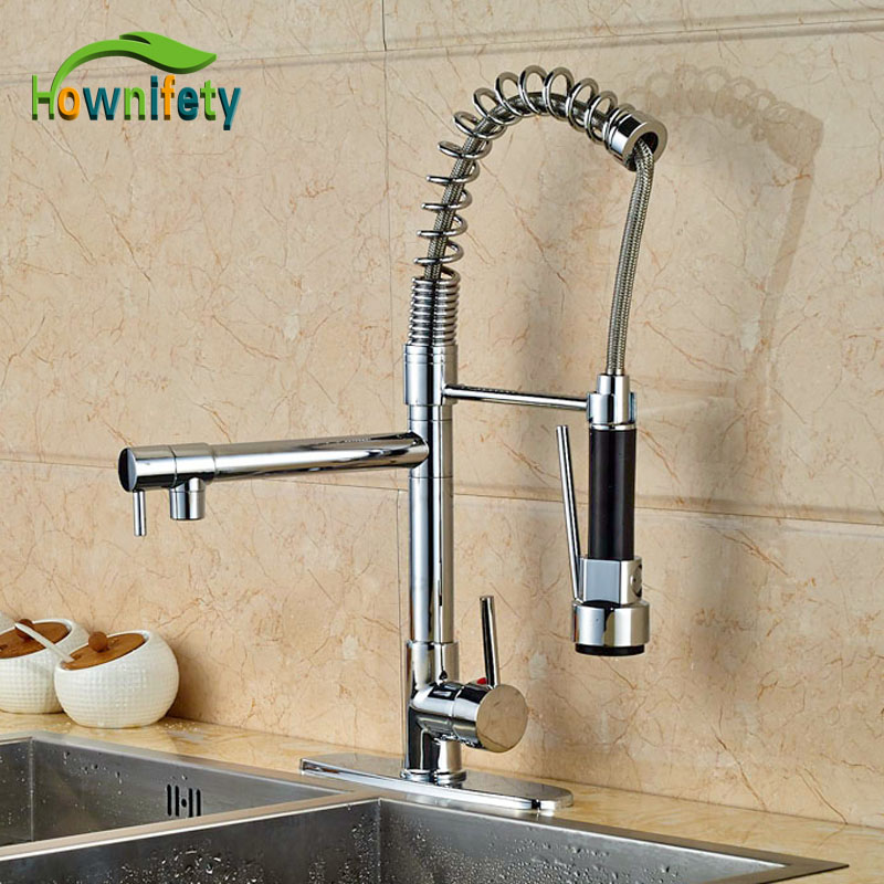 Factory Direct Sales Kitchen Faucet Chrome Polish Single Lever Pull Out Faucet With 8 Cover Plate