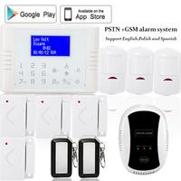 English Polish Spanish 433mhz Wireless Quad Band SIM Card GSM PSTN Telephone Alarm System Kit Home