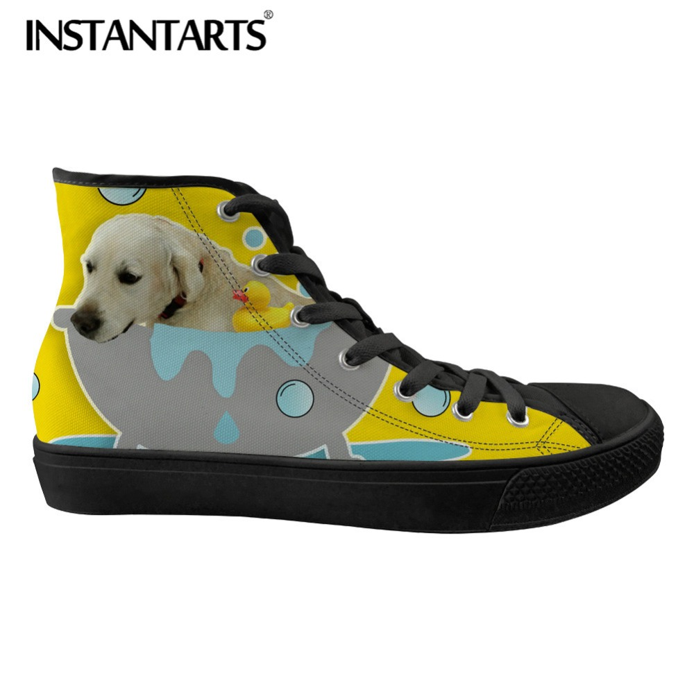 INSTANTARTS Labrador Dog 3D Print Men Flat Shoes Classic High Top Vulcanize Shoes Casual Canvas Sneakers Shoes for Man Youth BoyINSTANTARTS Labrador Dog 3D Print Men Flat Shoes Classic High Top Vulcanize Shoes Casual Canvas Sneakers Shoes for Man Youth Boy