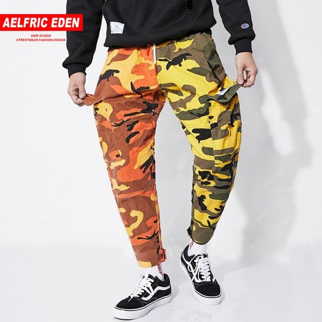 d39c7a6e3a Aelfric Eden hombre Joggers moda bloque de Color de camuflaje pantalones  bolsillos grandes Hip Hop pantalones