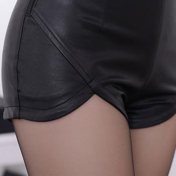 2019 New Fashion High Waist Shorts Vintage Slim Slit High quality  Leather Short Sexy Black Red PU Women's Shorts Summer 10