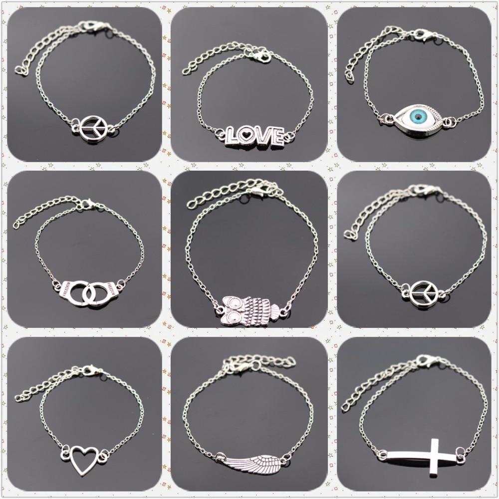 Bijoux Retro Vintage Eye Peace Friend Cross Owl Bracelet Bangle Men Women Charm Jewelry Girl Punk pulseras Valentine's Day Gift