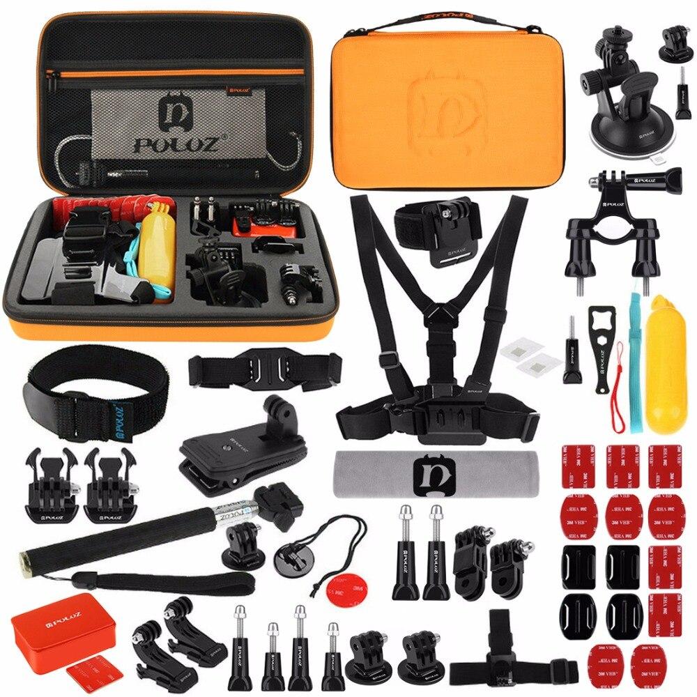 Gopro 53 en 1 accessoire Combo Kit avec étui Orange EVA pour GoPro Hero7/6/5/4/3/, Xiaoyi et autres Action Cam