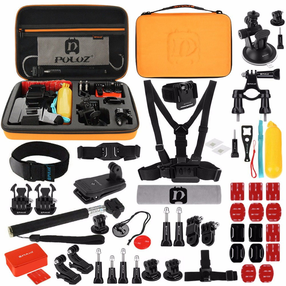 Gopro 53 in 1 Accessory Combo Kit with Orange EVA Case for GoPro Hero7/6/5/4/3/,Xiaoyi and Other Action Cam брелок be happy диамантовое сердце сашенька