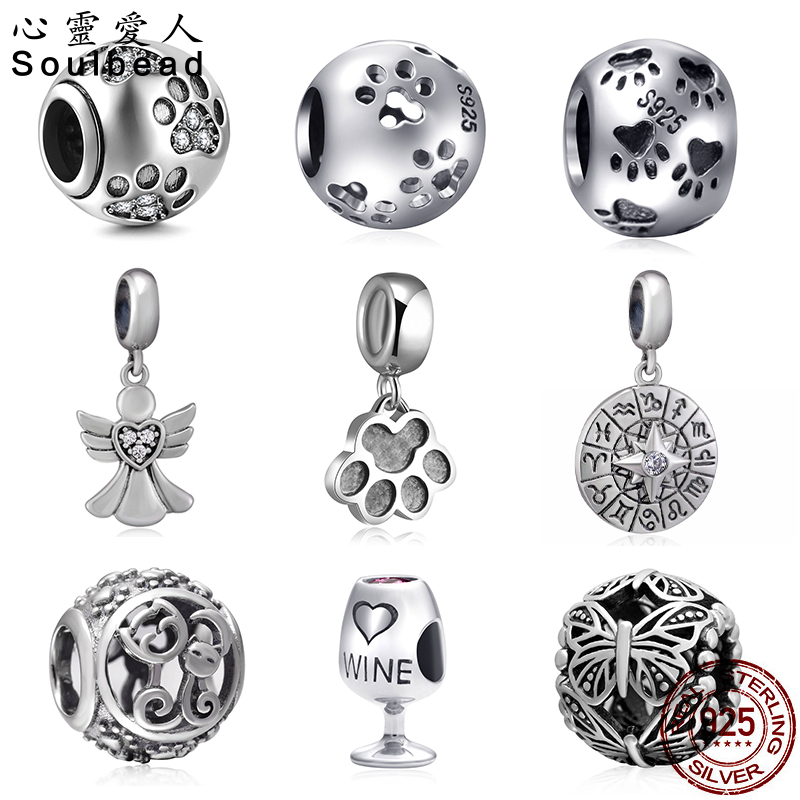 Soulbead 925 Sterling Silver Austrian Crystal Charm Fit Pandora Bracelet Chain Necklce and Charm Bracelet For Girl Friend Gifts