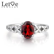 Leige Jewelry Anniversary Ring Natural Red Garnet Ring January Birthstone Oval Cut Gemstone Red Gems 925 Sterling Silver for Her