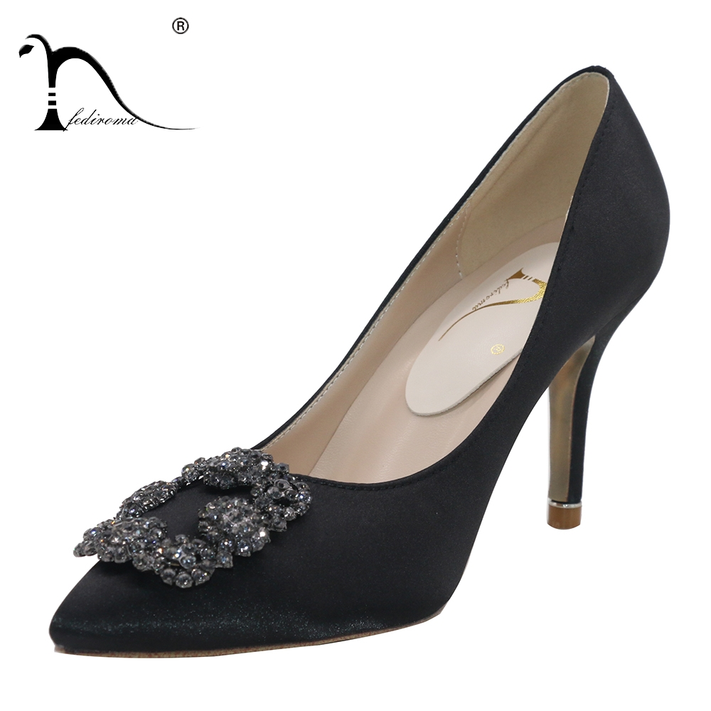 FEDIROMA Woman Pumps 2018 Fashion Crystal High Heel shoes Female Wedding  Shoes Lady slip on High heels Very Comfortable-in Women s Pumps from Shoes  on ... e00bd920e2fe