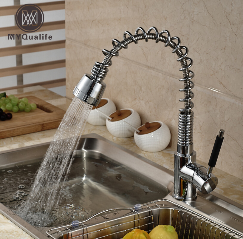 Single Handle Spring Pull down/out Kitchen Mixer Faucet Deck Mount Dual Sprayer Nozzle with Hot and Cold Water deck mount single handle kitchen faucet one handle chrome brass kitchen sink mixer tap dual sprayer functions