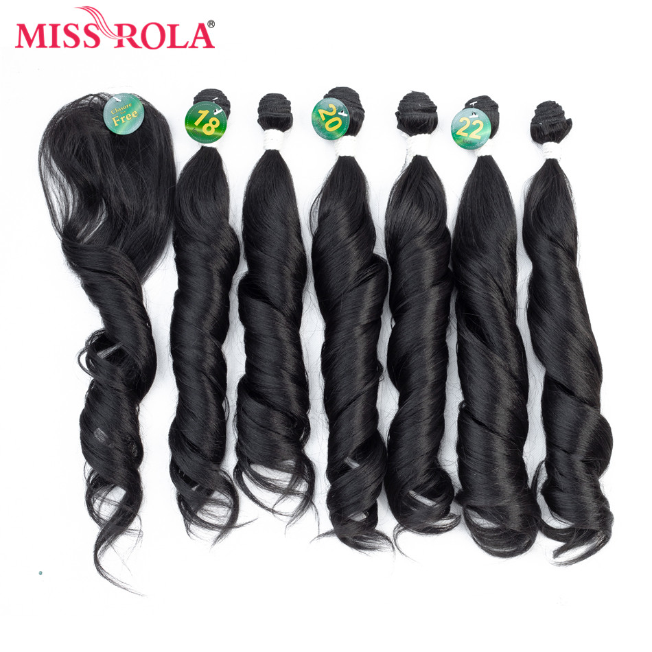 Miss Rola Ombre Bundles With Closure Synthetic Hair Bundles With Closure Loose Wave Bundles 18-22'' 7pcs/Pack Hair Weaves 230g
