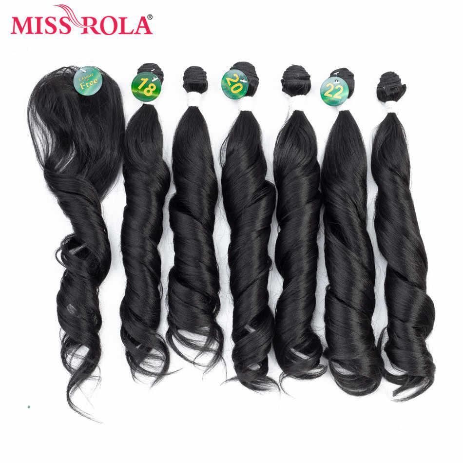 Miss Rola Ombre zestawy z zamknięciem syntetyczne wiązki włosów z zamknięciem wiązki falowanych 18-22 ''7 sztuk/paczka włosy do przedłużania 230g