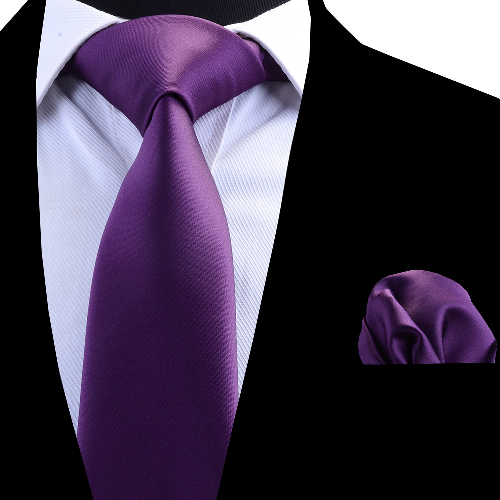 Plain Mauve Satin Classic Men/'s Tie Pocket Square Set Regular Tie Handkerchief