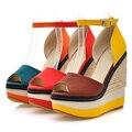 Women Sandals Weave High Wedges Patch Color Gladiator Sexy Open Toe Women High Heels Platform Summer