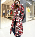 2016 European style winter warm military camouflage women x-long down cotton-padded jackets slim with hooded jaquetas W128