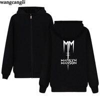 Marilyn Manson Rock Band Bluzy z Zamkiem Błyskawicznym Rockowe Swetry Kobiety Industrial Metal Muzyka Marilyn Manson Ubrania Plus Size Kurtka