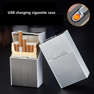 2-in-1 Cigarette Case USB Charging Box Charging Cigarette Windproof Lighter for Smoking Metal Cigarette Case Rechargeable Boxes(China)
