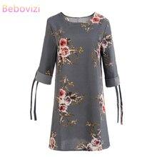 Bebovizi Women New 2019 Summer Fashion Vintage Gray Dresses Casual Office Plus Size Straight Elegant Sexy Flower Print Dress