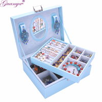 Guanya Leather Jewelry Box GIFT Multi Cosmetic Jewelry Organizer With Mirror Lock Storage BOX Casket Container
