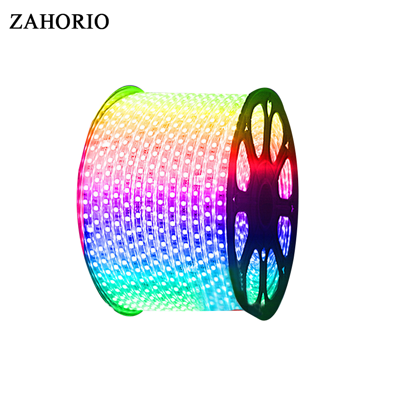AC220V RGB 5050 LED Strip Flexible Light 60leds/m Waterproof Led Tape LED Light With Power Plug 1M/2M/3M/4M/5M/6M/8M/9M/10M/15M