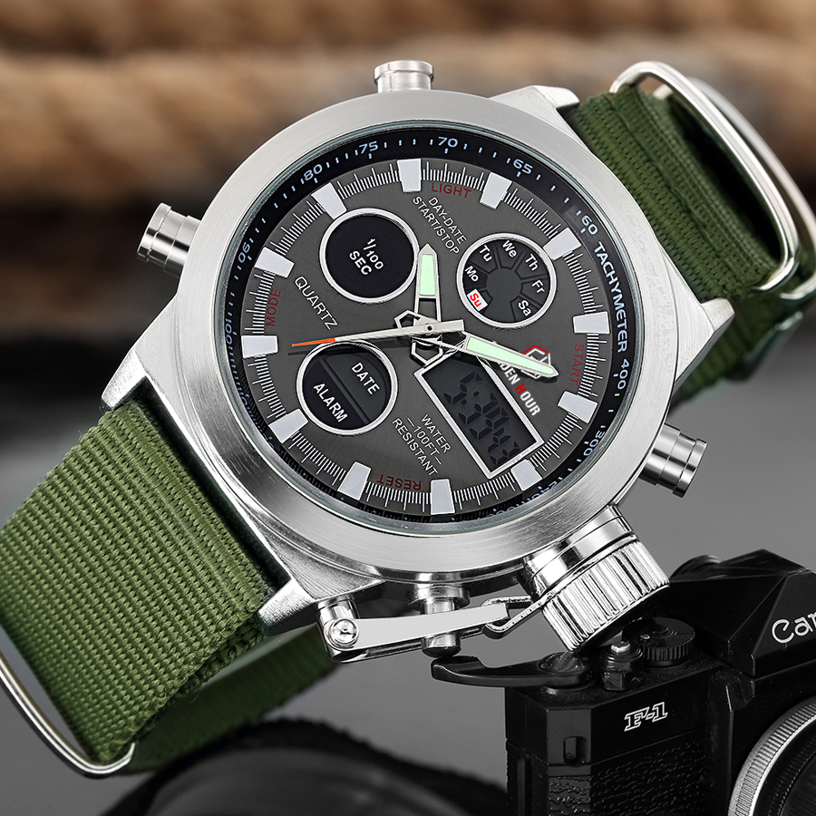 GOLDENHOUR Sport Men Wristwatch Fashion Men Quartz Watch Nylon Strap Week Display Army Military LED Clock Relogio Masculino-in Quartz Watches from Watches