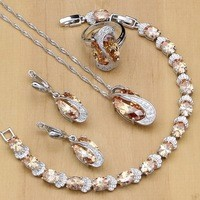Freshwater Pearl With Beads Jewelry Sets Silver 925 Jewelry wedding decoration For Women Earrings/Pendant/Ring/Necklace Set