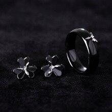 Romantic Flower Clover Ceramic Ring&Earring Jewelry Set For Women Wedding Gift Rhinestone Copper Anel Brincos Mujer Sergi Bijoux
