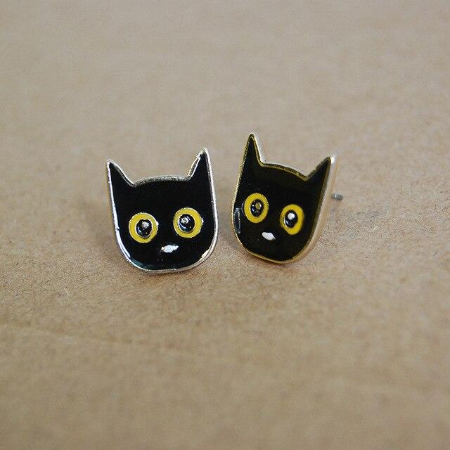 Сережки гвоздики черный кот 2