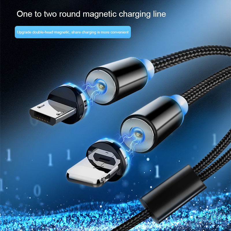 <font><b>2</b></font>.1A Magnetic <font><b>Cable</b></font> <font><b>Nylon</b></font> <font><b>Braided</b></font> One Split Into Two Magnetic Lines For Apple Android Type-c Mobile Phone Fast Charging Charger image