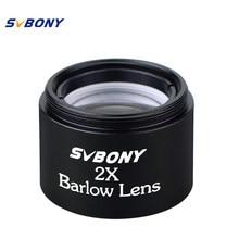 Svbony 1.25 thread 2x barlow lente m28.6 * 0.6 rosca para binóculos monoculares padrão telescópio óptica ocular compacto 31.7mm f9125