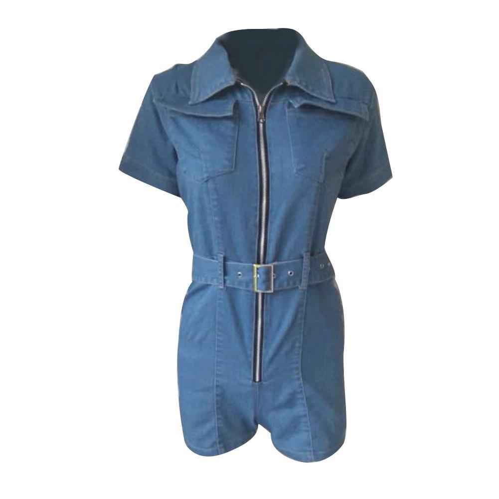 2019 Women Zip Denim Jumpsuit Short Sleeve Turn Down Collar Jeans Romper With Belt