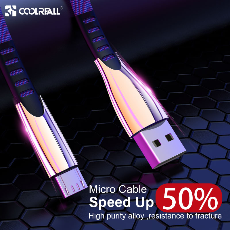 Coolreall 2.4A Micro USB Cable Fast Charge Data Nylon Sync Cord For Samsung Huawei Xiaomi LG Andriod usb cables
