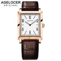 Agelocer кварцевые Фирменные женские часы для женщин Роскошные розовое золото под старину повседневное кожаное платье наручные часы Relogio Feminino