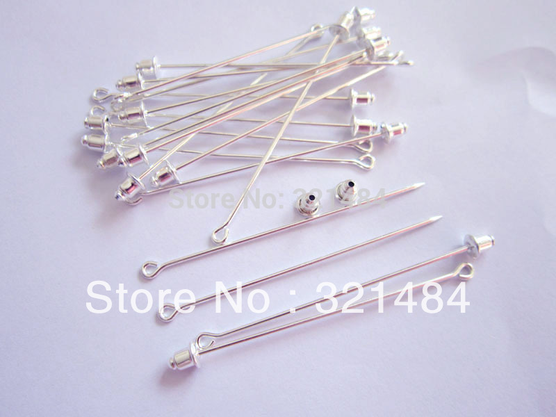 200pcs 60mm Sharp Tip Silver Plated muslim hijab pins stick and brooches, safety scarf pins