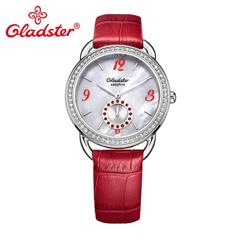Gladster marque de luxe japon miborough 1L45 mode rouge femmes montre-bracelet saphir cristal or femme Quartz horloge dame robe montre