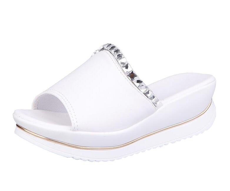 Cool slippers female students summer wedges sponge bottom thick soles slippers with fish mouth a word in