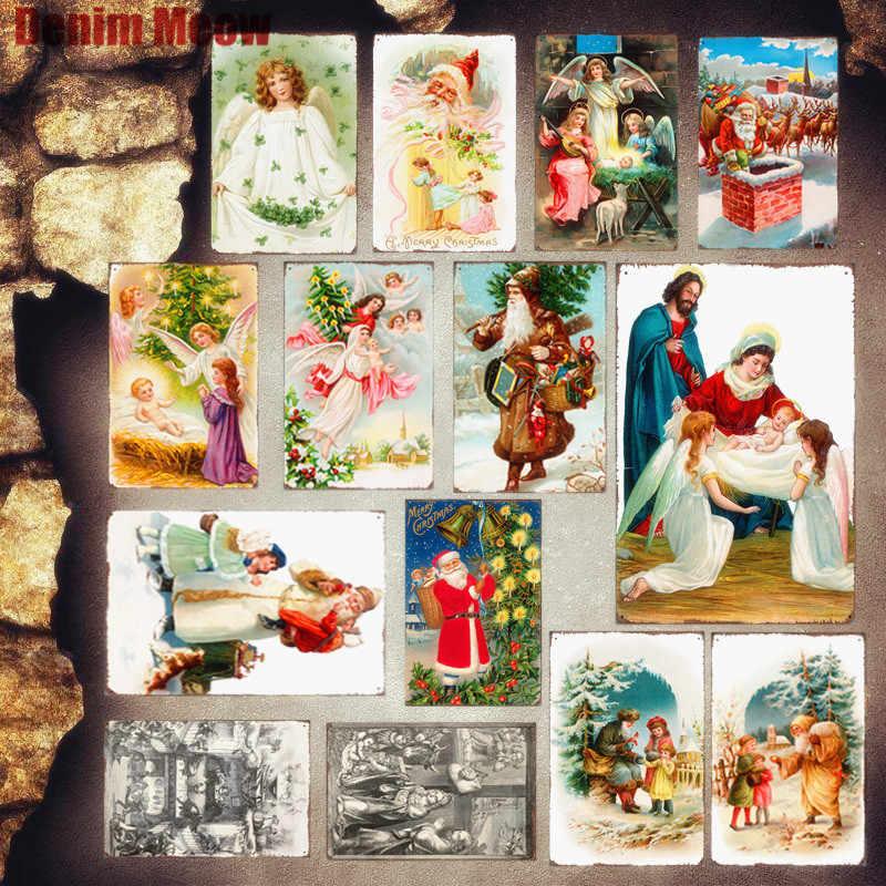 عيد الميلاد البلاك خمر معدن القصدير علامات كازينو بار حانة مقهى أطباق تزيين الملاك الحديد ملصق فني سانتا كلوز هدية ديكور المنزل MN37