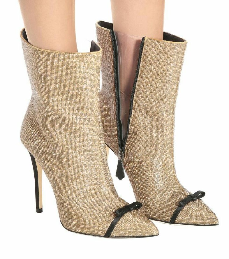 Hot Selling 10cm Heels Pointed Toe Ankle Boots 2018 Sexy Gold Crystal Embellished Thin Heels Booties Runway Butterfly-knot Boots hot selling women charming flock back gold metallic 3d butterfly embellished short boots pointed toe suede leather ankle booties